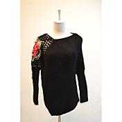 Mujer Regular Pullover Casual/Diario Simple,Estampado Escote Redondo Manga Larga Piel Sintética Otoño Medio Microelástico