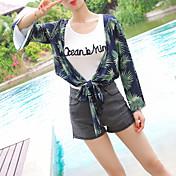 Mujer Regular Cardigan Casual/Diario Simple,Estampado Escote en Pico Manga Larga Piel Sintética Otoño Medio Microelástico