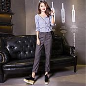 Mujer Casual Tiro Medio Rígido Pantalones Harén Chinos Empresa Pantalones,Un Color Algodón Otro Primavera Verano Otoño