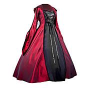 Gosurori Medieval Gótico Disfraz Mujer Una Sola Pieza Vestidos Ropa de Fiesta Baile de Máscaras Rojo Cosecha Cosplay Satén Llano Manga