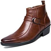 メンズ 靴 エナメル 秋 冬 ファッションブーツ オートバイ用ブーツ ブーティー ブーツ ブーティー/アンクルブーツ 編み上げ 用途 カジュアル パーティー ブラック Brown