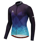 Miloto Maillot de Ciclismo Hombre Manga Larga Bicicleta Camiseta/Maillot Eslático Otoño Invierno Ciclismo Azul y Negro