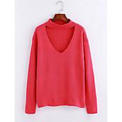 Mujer Regular Pullover Casual/Diario Simple,Un Color Escote en Pico Manga Larga Acrílico Otoño Invierno Medio Microelástico