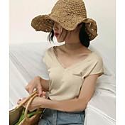Mujer Regular Pullover Casual/Diario Simple,Un Color Escote en Pico Manga Corta Nailon Verano Fino Microelástico