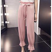 レディース シンプル ストリートファッション ハイライズ スリム マイクロエラスティック スリム パンツ ソリッド