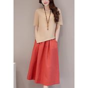 Mujer Chic de Calle Noche Casual/Diario Verano T-Shirt Falda Trajes,Escote Redondo Un Color Manga Corta