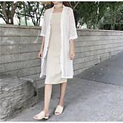 Mujer Simple Casual/Diario Camisa,Escote en V Profunda Un Color Manga 3/4 Algodón
