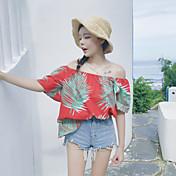 Mujer Simple Casual/Diario Blusa,Escote Barco Estampado Manga Corta Poliéster