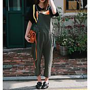 Mujer Casual Tiro Alto Microelástico Perneras anchas Mono Pantalones,Un Color Lino Otoño