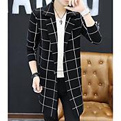 Hombre Regular Cardigan Casual/Diario Simple,A Rayas Cuello Camisero Manga Larga Poliéster Otoño Medio Microelástico