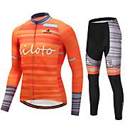 Miloto Maillot de Ciclismo con Mallas Hombre Manga Larga Bicicleta Sets de Prendas Eslático Otoño Invierno Ciclismo/Bicicleta Naranja
