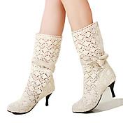 Mujer Zapatos Encaje Otoño / Invierno Confort / Innovador / Botas de Moda Botas Dedo Puntiagudo Mitad de Gemelo Pajarita Blanco / Negro /