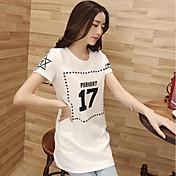 Mujer Simple Casual/Diario Camiseta,Escote Redondo Un Color Geométrico Manga Corta Algodón