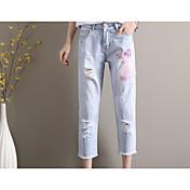 Mujer Casual Tiro Medio Rígido Pantalones Harén Vaqueros Pantalones,Floral Primavera