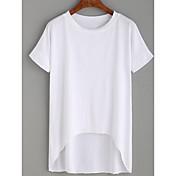 レディース お出かけ カジュアル/普段着 夏 Tシャツ,ストリートファッション ラウンドネック ソリッド コットン 半袖 ミディアム