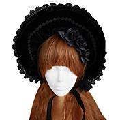 Lolita Boneta Gosurori Lolita Lolita Mujer Negro Accesorios de Lolita Encaje Tapa Sombrero Terciopelo