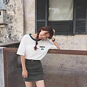 Mujer Simple Bonito Noche Casual/Diario Verano Camiseta,Escote Redondo Un Color Manga Corta Algodón Medio