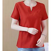 Mujer Simple Casual/Diario Camiseta,Escote Corazón Un Color Manga Corta Lino