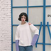Mujer Sudadera Noche Simple Un Color Escote Redondo Inelástica Algodón Manga Larga Primavera Otoño