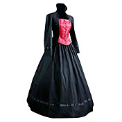 ワンピース/ドレス クラシック/伝統的なロリータ ロリータ コスプレ ロリータドレス ブラック パッチワーク ポエット 長袖 ロング丈 コート ドレス ために コットン