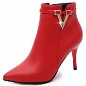 Mujer Zapatos PU Otoño Botas de Combate Botas Dedo Puntiagudo Cremallera Para Casual Negro Gris Rojo