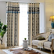 Corredizo Anillo Lazo de tela Doble plisado Solo plisado Ventana Tratamiento Europeo , Hilos teñidos Rayas Dormitorio Material cortinas