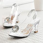 Mujer Zapatos PVC Primavera Otoño Confort Innovador Sandalias Tacón Cuña Punta abierta Cristal Pajarita Hebilla Para Boda Fiesta y Noche
