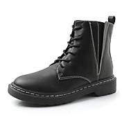 Mujer Zapatos Semicuero Primavera Otoño Confort Botas Dedo redondo Para Vestido Negro Caqui