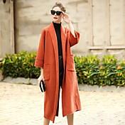 レディース カジュアル/普段着 ワーク 冬 コート,シンプル シャツカラー ソリッド レギュラー ウール 七分袖