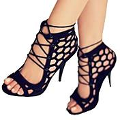 Mujer Zapatos Cuero Nobuck Primavera / Verano Confort / Innovador Sandalias Puntera abierta Con Cordón Negro / Boda / Fiesta y Noche