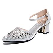 Mujer Zapatos Purpurina Primavera Verano Gladiador Tacones Tacón Cuadrado Pedrería para Casual Vestido Dorado Blanco