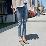 レディース シンプル ストリートファッション ハイライズ スリム 非弾性 ジーンズ パンツ 引き裂かれました ソリッド