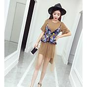 Mujer Simple Casual/Diario Verano T-Shirt Falda Trajes,Escote Redondo Un Color Estampado Manga Corta Microelástico