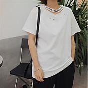 Mujer Sexy Bonito Noche Casual/Diario Verano Camiseta,Escote en Pico Un Color Manga Corta Algodón
