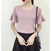 Mujer Regular Pullover Playa Un Color Escote Redondo Manga Corta Otro Primavera Otoño Medio Microelástico
