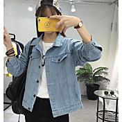 レディース カジュアル/普段着 秋 デニムジャケット,シンプル シャツカラー プリント レギュラー コットン 長袖