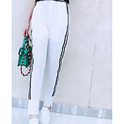 Mujer Casual Tiro Alto Microelástico Perneras anchas Pantalones,Un Color Poliéster Primavera