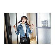 レディース カジュアル/普段着 春 デニムジャケット,シンプル シャツカラー ソリッド ショート リネン 七分袖