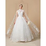 vestido de boda de Tulle de la longitud del piso del cuello de la princesa alto con el cristal por yuanfeishani