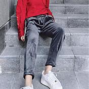 Mujer Chic de Calle Microelástico Pantalones de Deporte Pantalones,Un Color