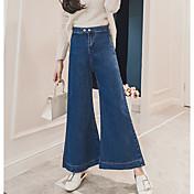 Mujer Simple Tiro Alto Microelástico Vaqueros Pantalones,Vaqueros Un Color