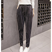 Mujer Simple Tiro Alto Microelástico Ajustado Pantalones,Ajustado Un Color
