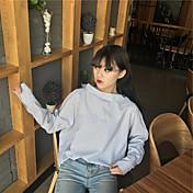 Mujer Vintage Casual/Diario Camisa,Escote Redondo Un Color Manga Larga Algodón