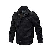 Men's Military Jacket - Solid Colored, Ov...