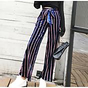 Mujer Casual Tiro Medio Rígido Chinos Pantalones,A Rayas Primavera/Otoño Verano