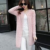 Mujer Largo Cardigan Casual/Diario Un Color Escote Redondo Manga Larga Tejido de lana Invierno Primavera/Otoño Medio Elástico