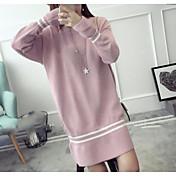 Mujer Punto Vestido Casual/Diario Simple,Un Color A Rayas Escote Redondo Sobre la rodilla Mangas largas Lana Algodón Media cintura