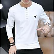 Hombre Chic de Calle Casual/Diario Camiseta,Escote Redondo Un Color Manga Larga Algodón Poliéster
