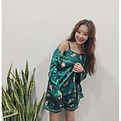 Mujer Satén y Seda Pijamas,Sexy Estampado Gasa Satén Verde Trébol