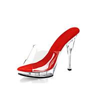 Mujer Zapatos PVC Verano / Otoño Pump Básico / Zapatos con luz / Zapatos del club Zuecos y pantuflas Tacón Stiletto / Plataforma Negro /